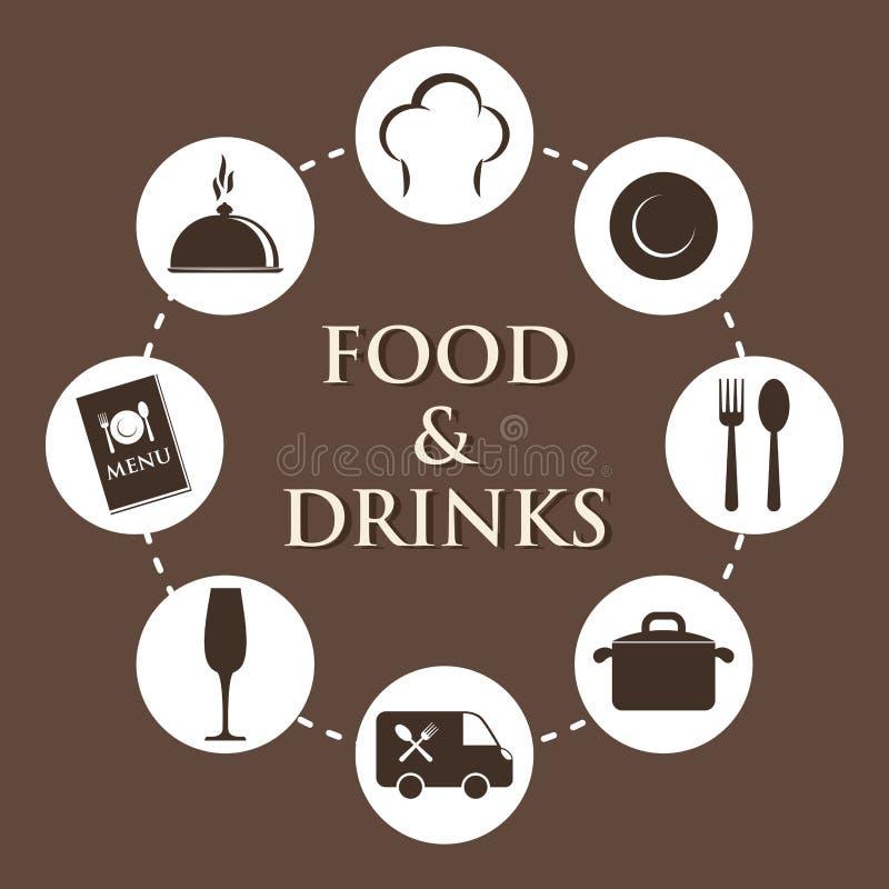 美食术和餐馆 皇族释放例证