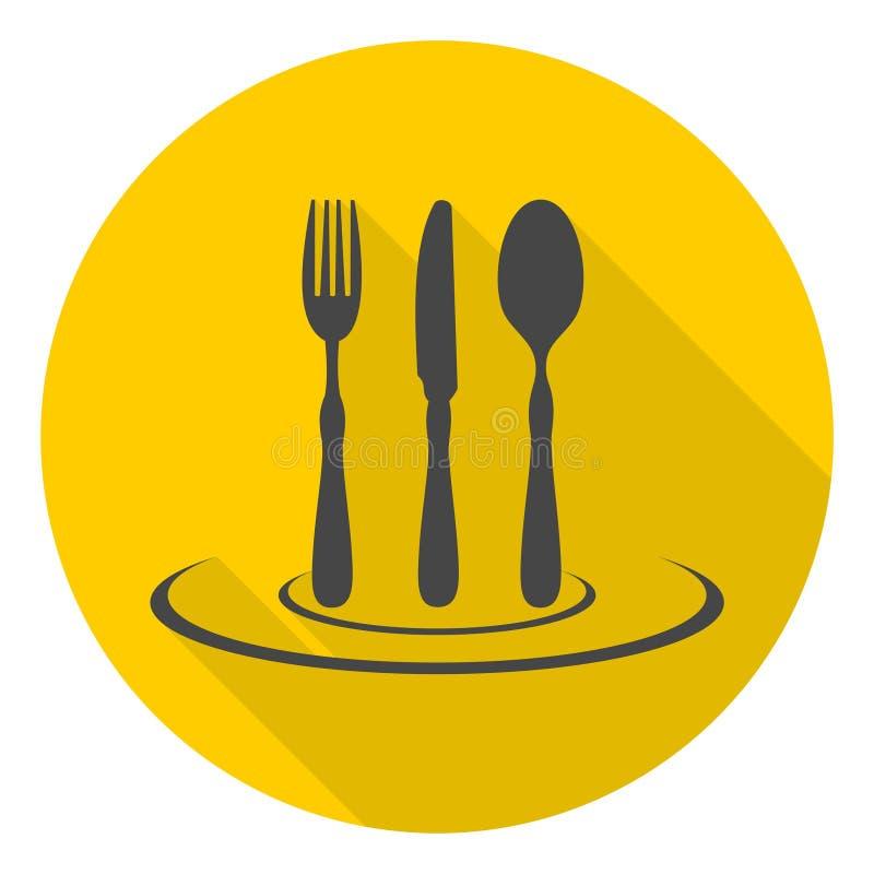 美食术,餐馆与长的阴影的标志、叉子、刀子和匙子象 向量例证