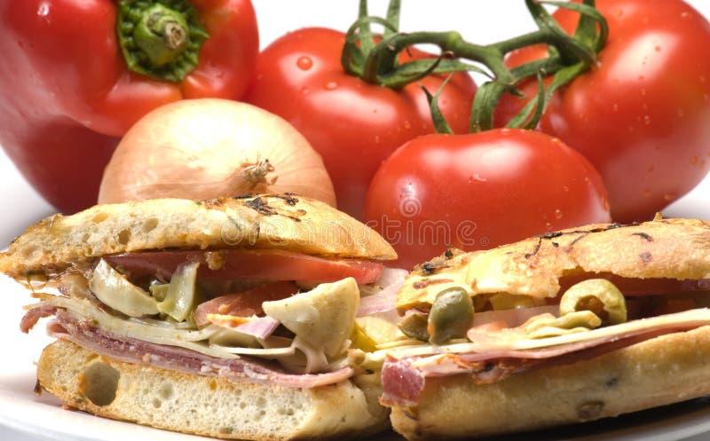 美食的火腿意大利人三明治 免版税图库摄影