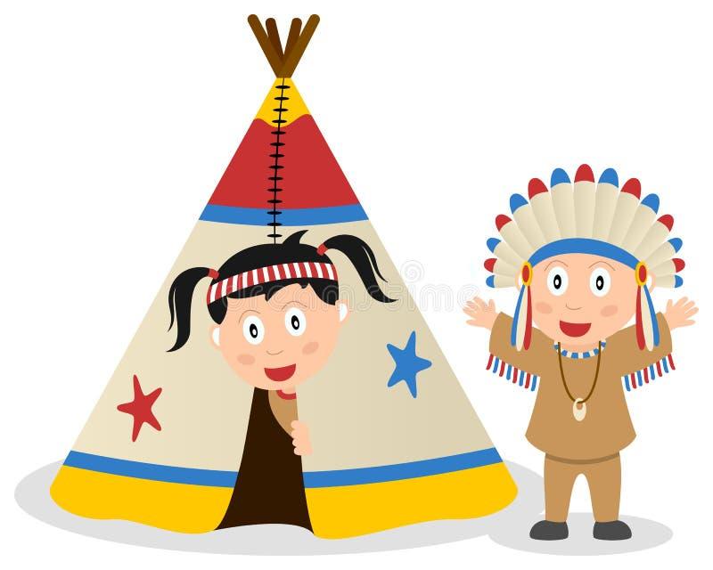 美洲印第安人和圆锥形帐蓬 向量例证