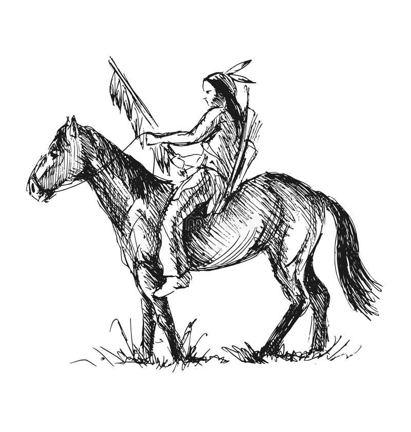 美洲印第安人的手剪影 皇族释放例证