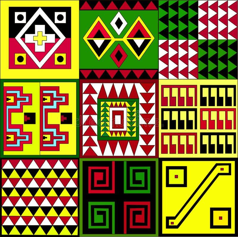 美洲印第安人的种族样式:阿兹台克人, Mayans,印加人 也corel凹道例证向量 免版税库存照片