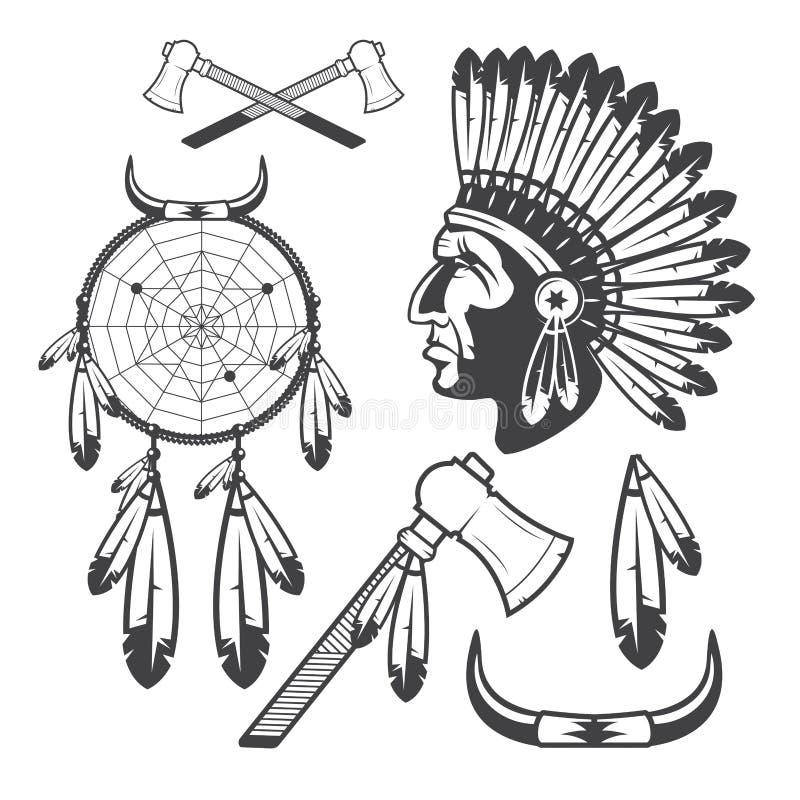 美洲印第安人Clipart象和元素,在白色背景 库存例证