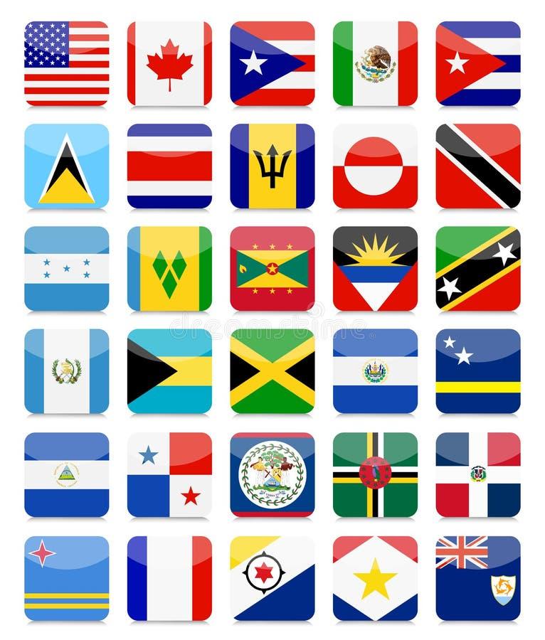 美洲和加勒比旗子平的方形的象设置了1 库存例证