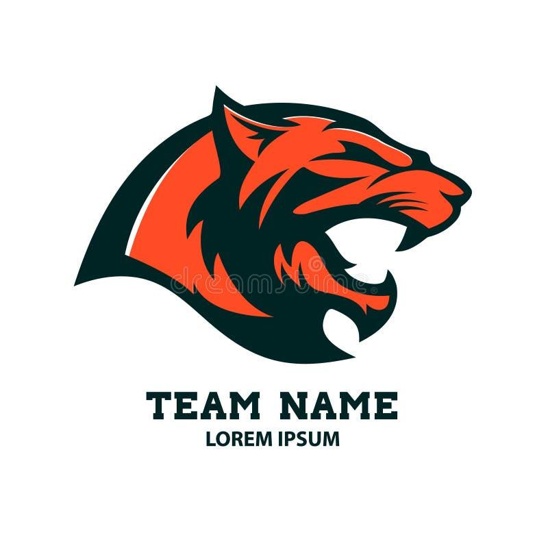 美洲狮顶头商标模板 设计要素例证图象向量 库存例证