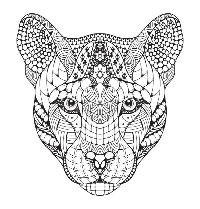 美洲狮,美洲狮,美洲狮,豹顶头zentangle传统化了, ve 向量例证