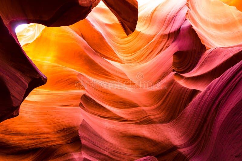 羚羊峡谷砂岩形成美丽的景色在著名在页,亚利桑那,美国附近的那瓦伙族人部族国家公园 免版税图库摄影
