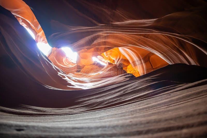 羚羊峡谷,在页附近,亚利桑那,美国 在那瓦伙族人国家的砂岩形成 免版税库存照片