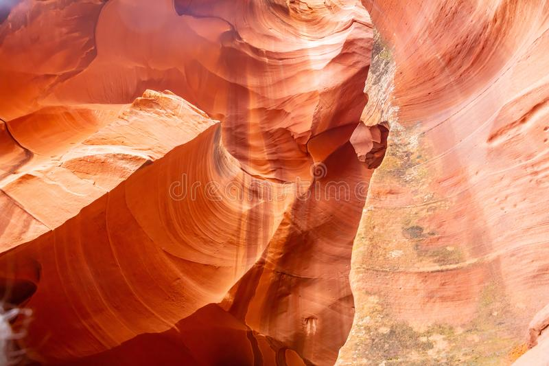 羚羊峡谷,在页附近,亚利桑那,美国 在那瓦伙族人国家的砂岩形成 免版税库存图片