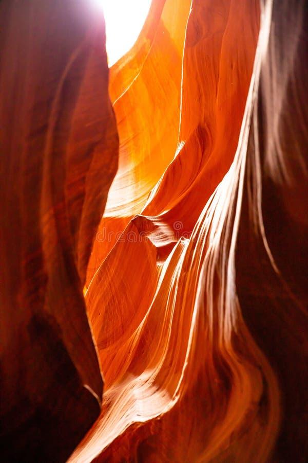 羚羊峡谷,在页附近,亚利桑那,美国 在那瓦伙族人国家的砂岩形成 库存照片