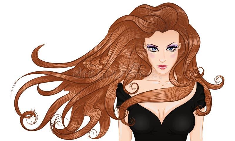 羞愧的头发长的纵向s妇女年轻人 皇族释放例证