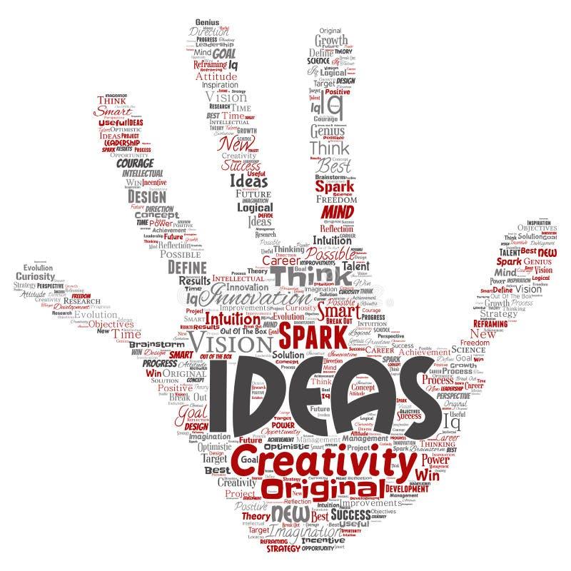 群策群力人的手的传染媒介创造性的想法 库存例证