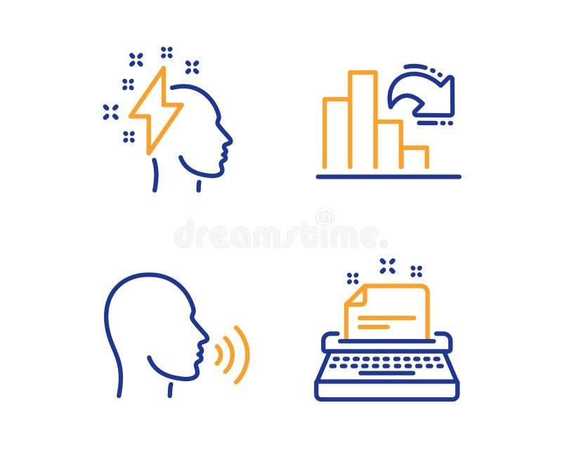 群策群力的,越来越少的图表和人唱象集合 打字机标志 雷电,专栏图,谈话 ?? 库存例证