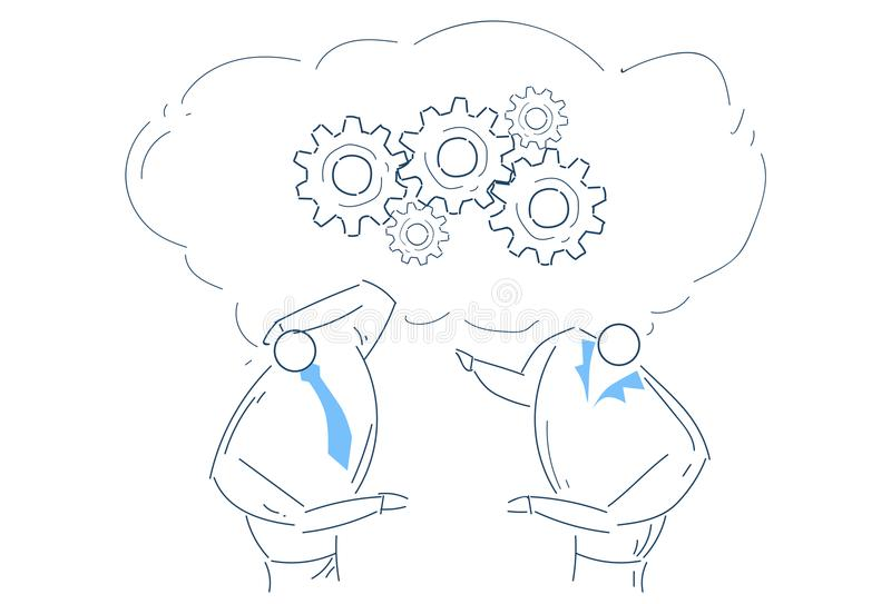 群策群力链轮的两个人处理战略概念剪影乱画 皇族释放例证