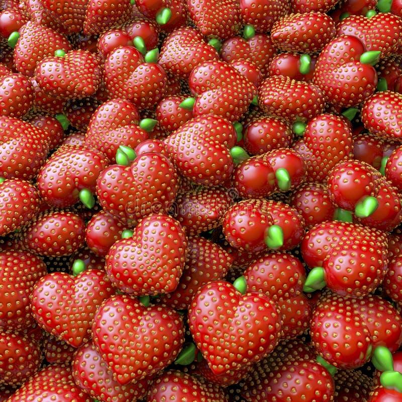 群,堆,草莓心脏水池  库存图片