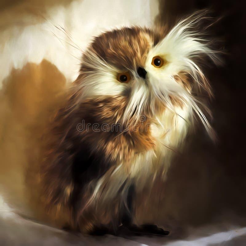 羽毛似猫头鹰静物画 向量例证