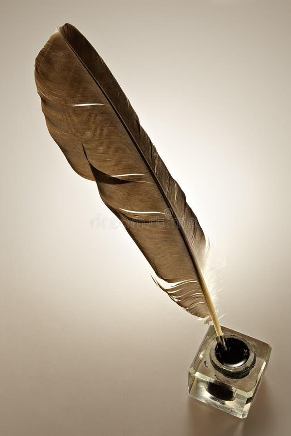羽毛墨水池 库存照片