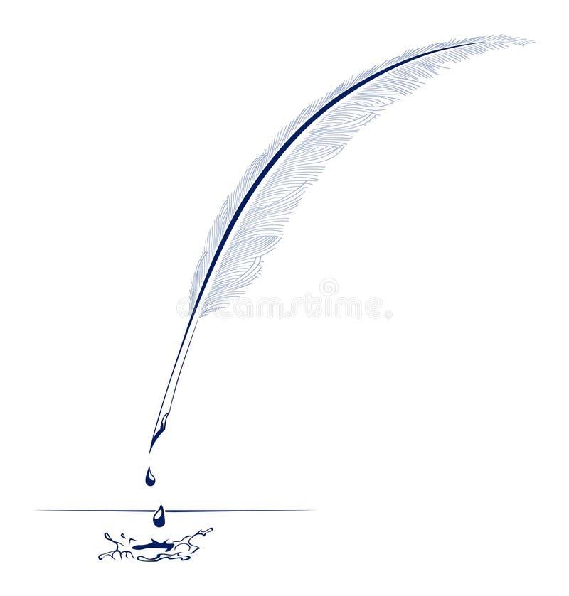 羽毛墨水笔 向量例证