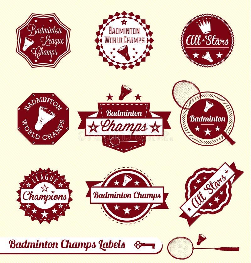 羽毛球同盟标签和贴纸 库存例证