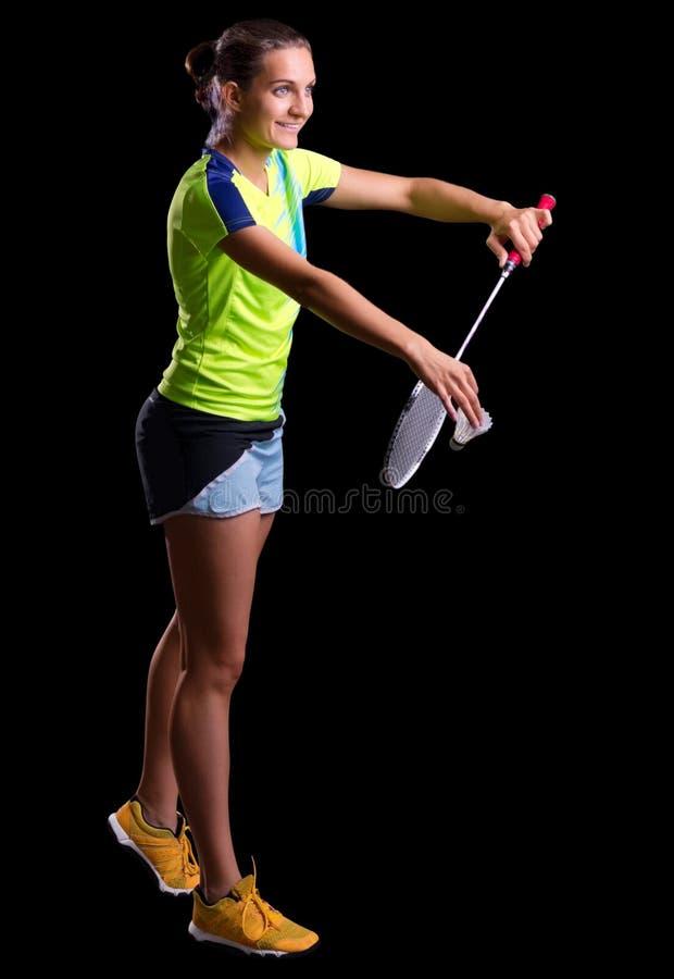 羽毛球球员妇女年轻人 库存图片