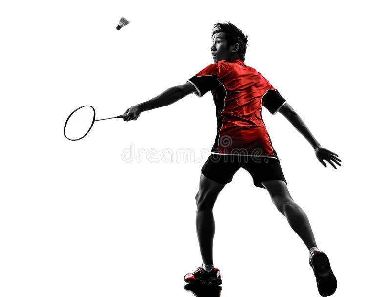 羽毛球球员年轻人剪影 免版税库存图片