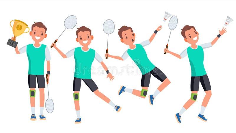 羽毛球男性球员传染媒介 使用用不同的姿势 人运动员图片