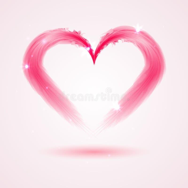 从羽毛的心脏在白色背景 向量例证