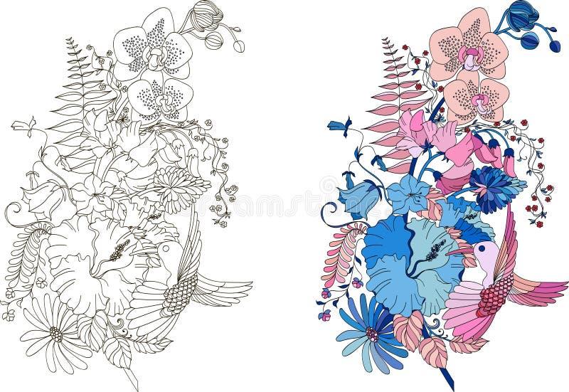 羽毛的被传统化的例证与兰花、木槿和蜂鸟的在缠结乱画样式 库存例证
