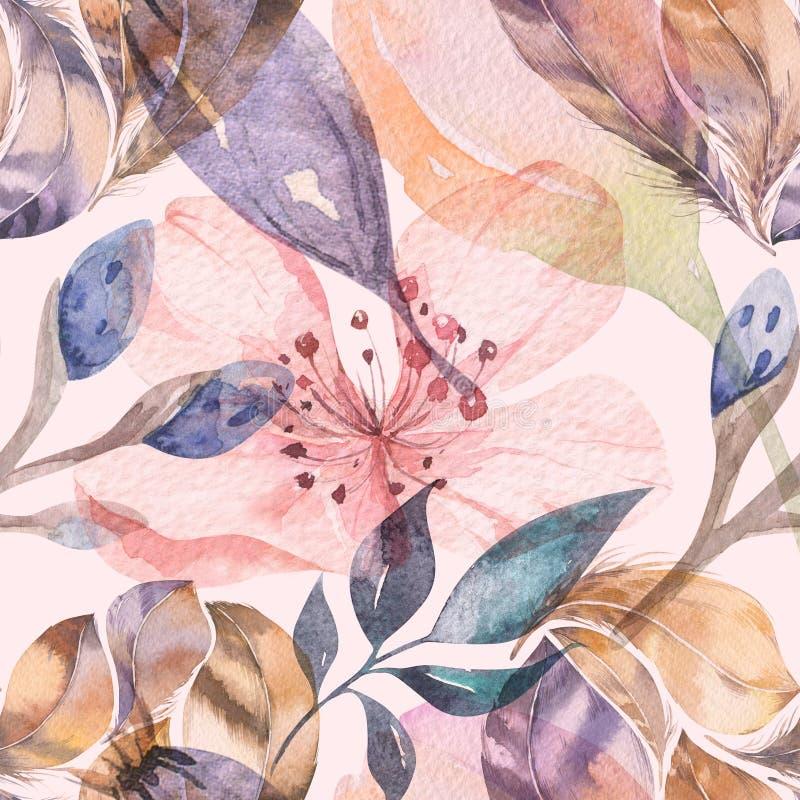 羽毛的Boho无缝的水彩样式和野花、叶子、分支花、例证、爱和羽毛 皇族释放例证