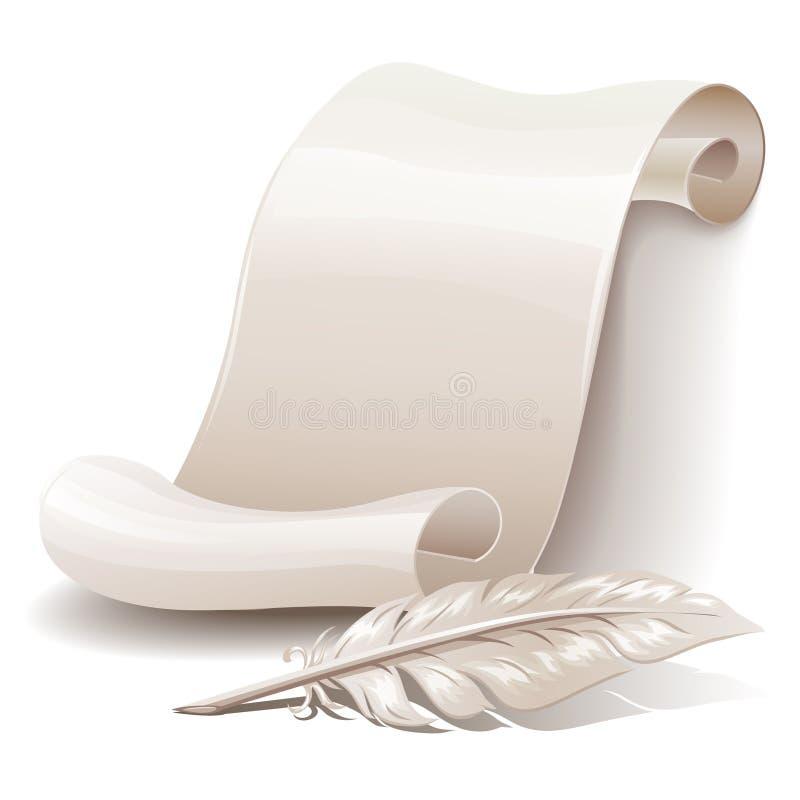 羽毛纸滚动 向量例证