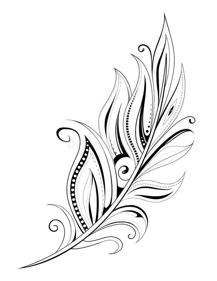 羽毛纹身花刺 库存例证