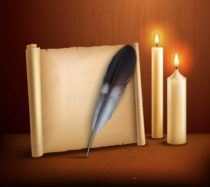 羽毛羊皮纸对光检查现实背景海报 向量例证