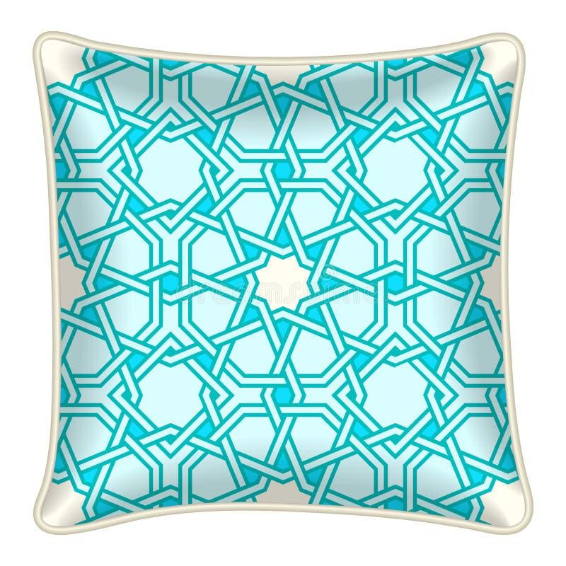 羽绒枕头坐垫例证顶视图,土耳其玉色摩洛哥人样式 向量例证