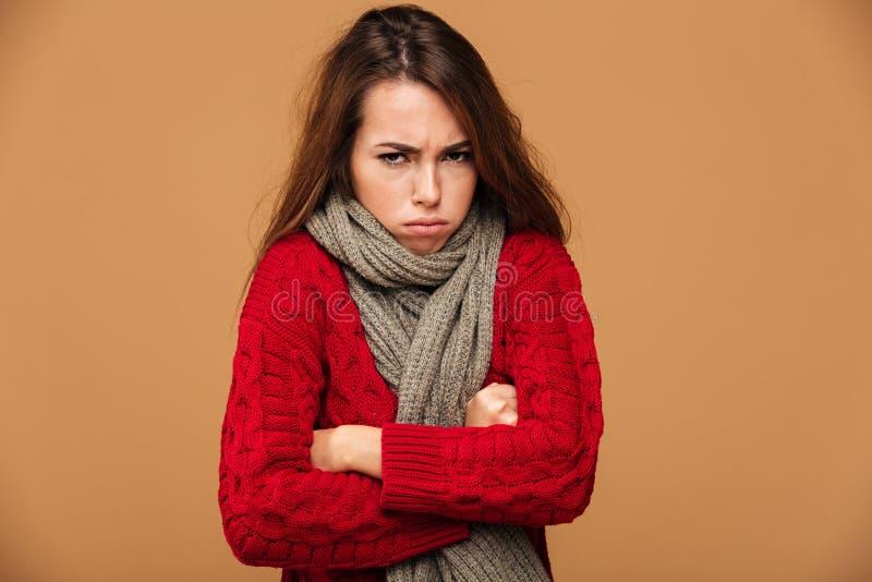 翻倒结冰的妇女画象红色的编织了毛线衣身分 免版税库存照片