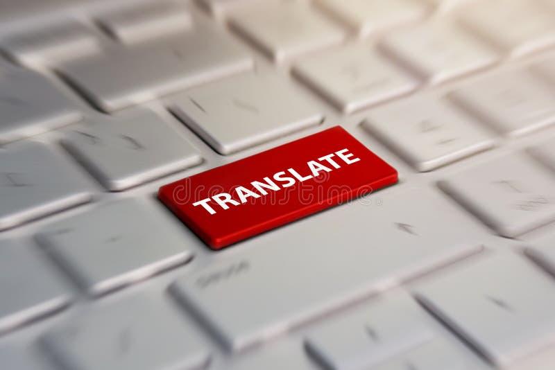 翻译在键盘,翻译语言的按钮 弄脏在行动背景中 免版税库存图片