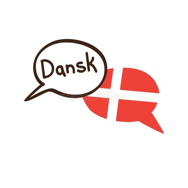 翻译:丹麦语 导航手拉的乱画讲话泡影的例证与丹麦和手书面名字一面国旗的  皇族释放例证
