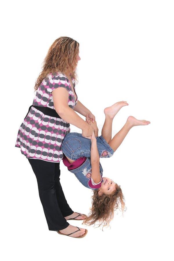 翻转妈妈的女儿 库存图片