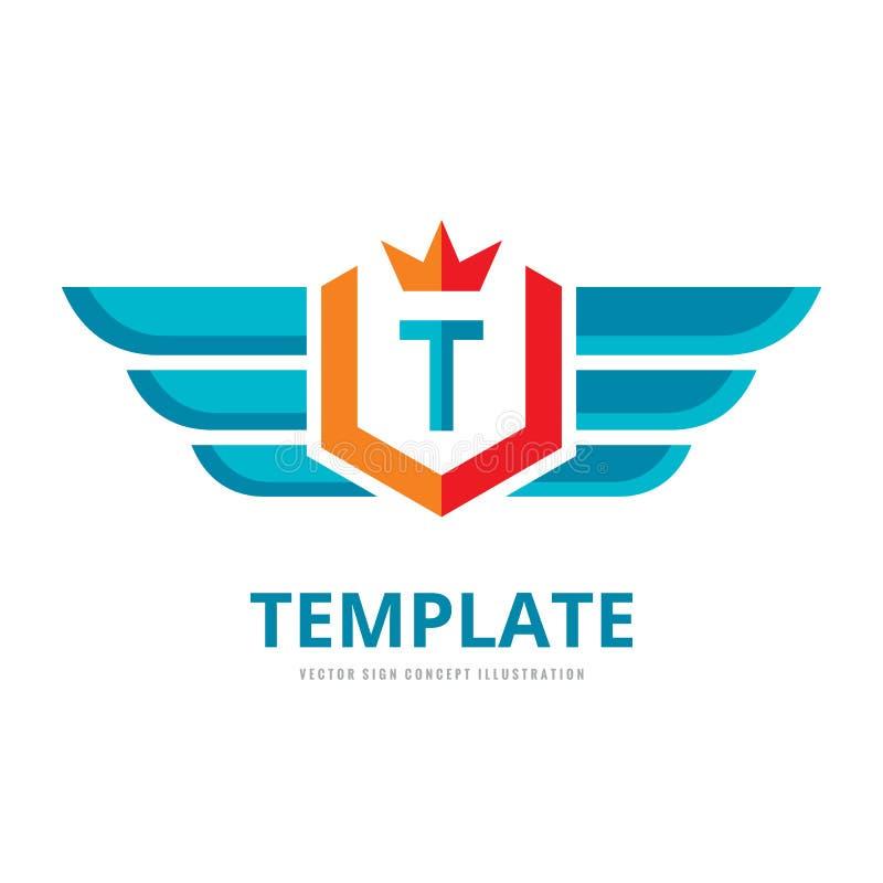 翼、盾&冠-导航企业商标模板概念例证 信件T创造性的标志 航空器运输标志 库存例证