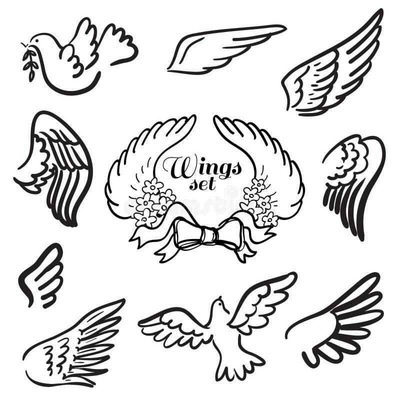 翼。套设计元素。 皇族释放例证