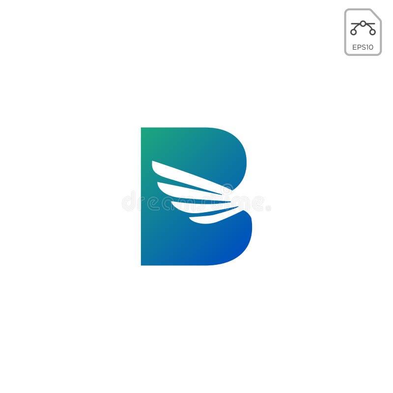 翼商标最初b抽象设计传染媒介象隔绝了 向量例证