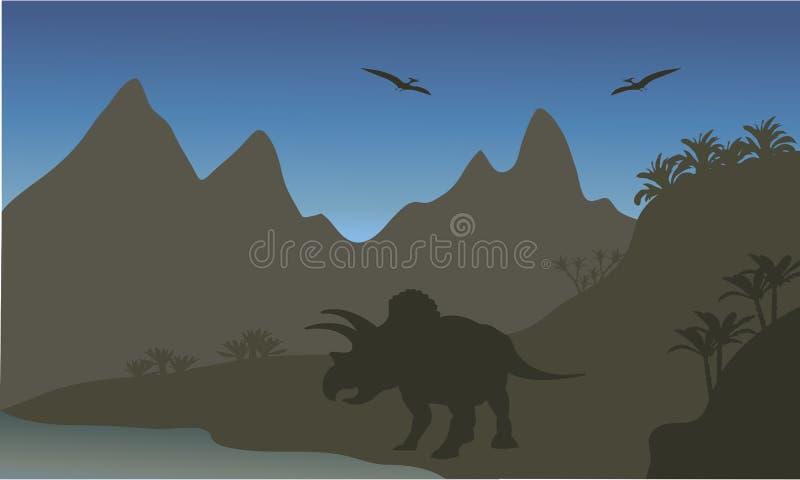 翼手龙和三角恐龙剪影  皇族释放例证