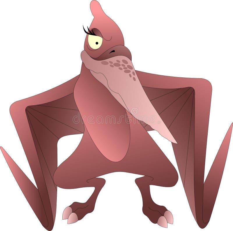 翼手龙,与黄色眼睛的史前飞行的穿山甲 皇族释放例证