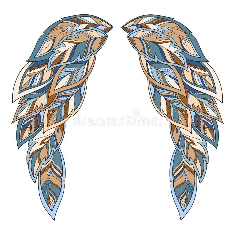 翼羽毛 手拉的乱画 种族被仿造的传染媒介illust 皇族释放例证