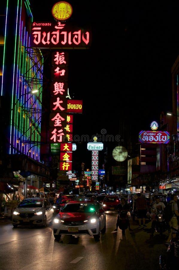 耀华力路在曼谷的唐人街 免版税库存照片