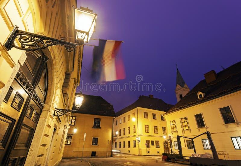 老上部镇建筑学在萨格勒布 免版税库存图片