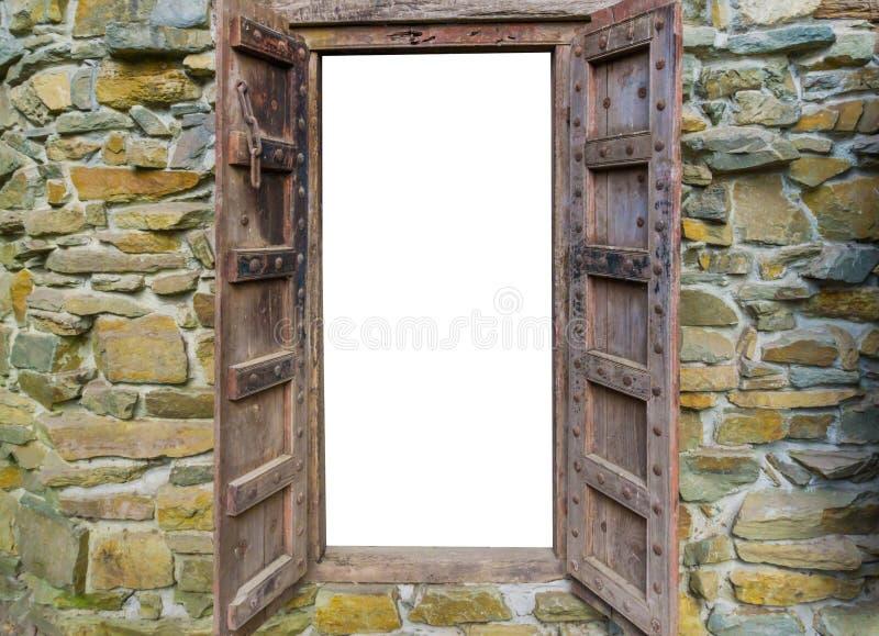 老中世纪在砖墙的样式木窗架,开放和隔绝在白色 库存图片