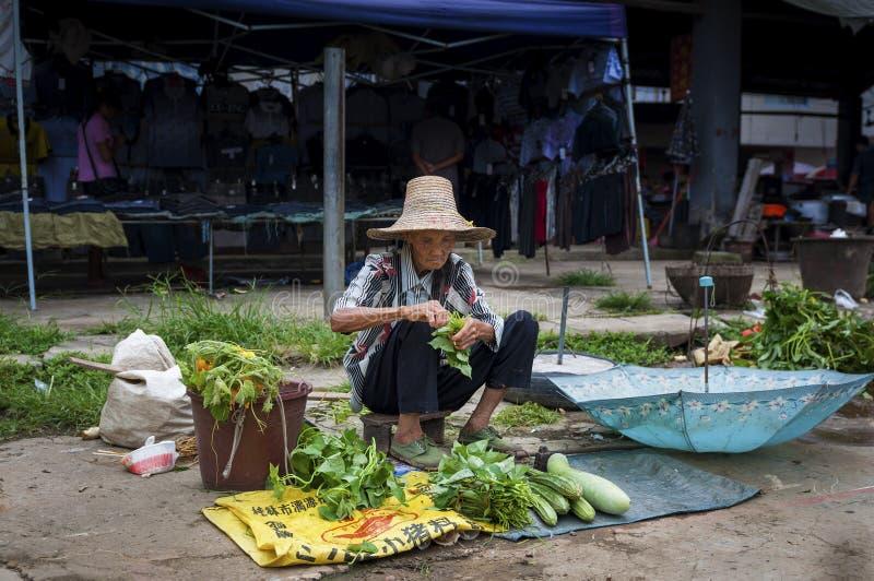 老中国妇女在街市上的卖菜在伏里村在华南乡下  免版税库存图片