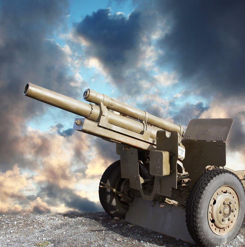 老二战大炮 免版税库存照片