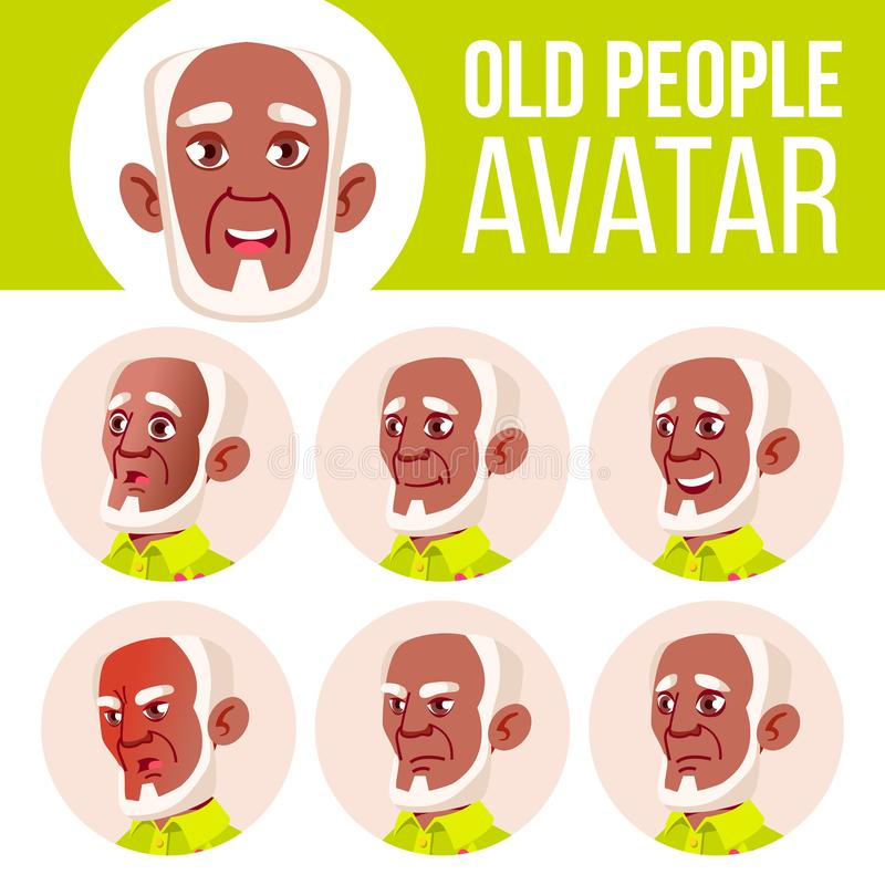 老人具体化集合传染媒介 投反对票 美国黑人 面对情感 资深人画象 老年人 年龄 生活 皇族释放例证