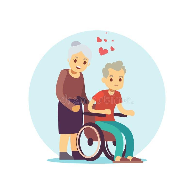 老人动画片被设置的传染媒介字符 在爱平的设计的资深夫妇 向量例证